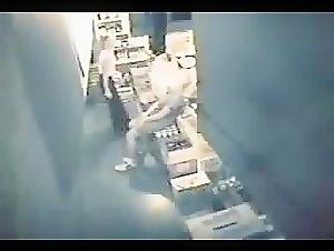 Lesbian couple caught doing something inside food storage room