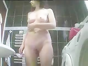 Hidden cam shows wife washing pussy