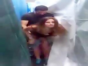 Horny couple caught fucking