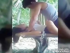 Horny couple fuck in the nipa hut