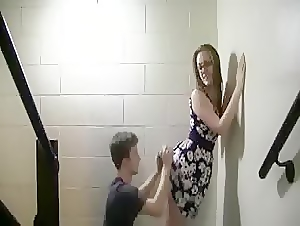 College couple doggy fuck at the school stairway